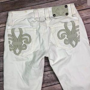 Miss Me Jeans Fleur de Lis Signature Capri Shorts